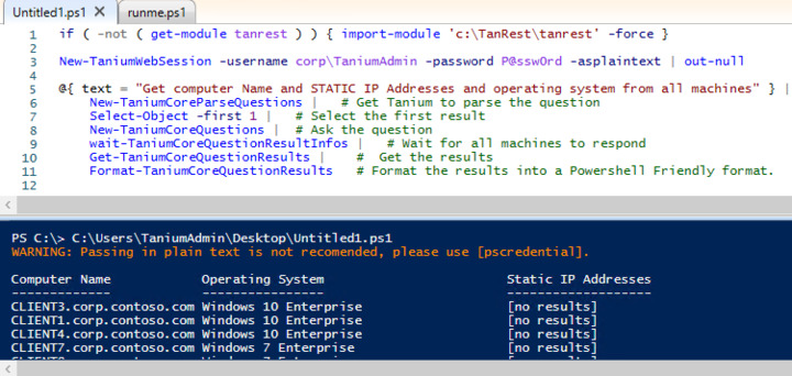 How to ask Interact questions using Powershell to the API?